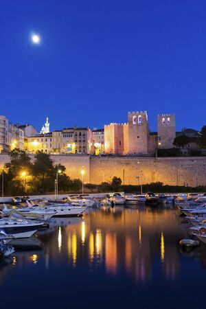 abbaye: Abbaye Saint-Victor de Marseille in France in the evening Stock Photo