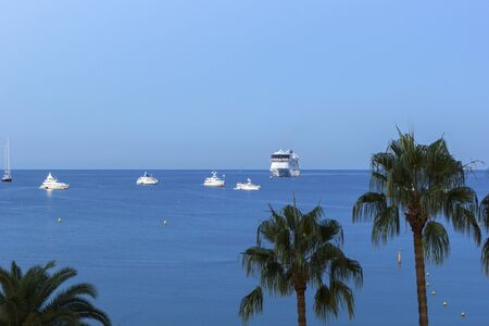french riviera: Ships on Mediterranean Sea near the shores of Cannes on French Riviera