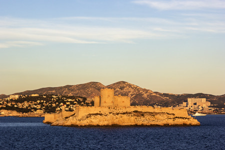 monte cristo: View on the lighthouse and Castle of If in Marseilles in France at sunset