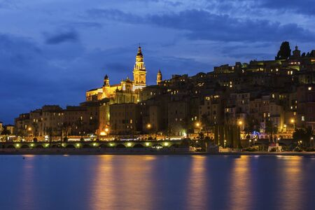 menton: View on Menton in France during a cloudy evening