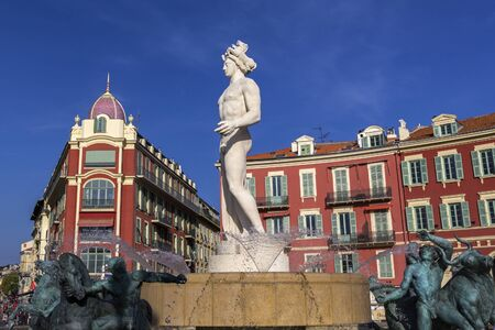 Fountain of the Sun with Apollo statue on Place Massena in Nice, France