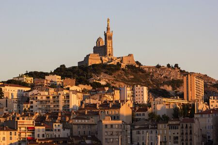 garde: View on Notre-Dame de la Garde in Marseilles in France in the afternoon