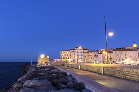 fench: View on Tour du Portalet in Saint-Tropez in France in the evening