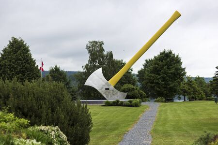 oddity: Worlds largest axe located in Nackawic in Canada Stock Photo