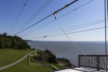 enrage: Zip line at Cape Enrage in New Brunswick in Canada Stock Photo