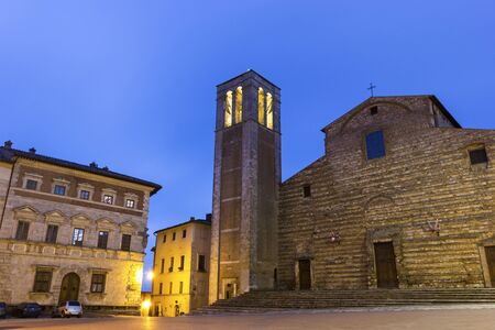 montepulciano: The Cathedral of Santa Maria Assunta in Montepulciano in Italy in the evening