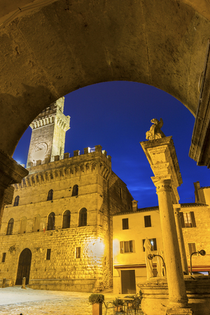 montepulciano: Communal Palace in Montepulciano in Italy in the evening Editorial