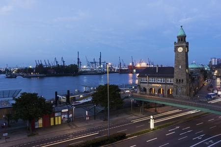 st pauli: St. Pauli Piers with Pegelturm in Hamburg in Germany