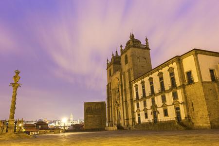 austere: Cathedral in Porto in Portugal Stock Photo