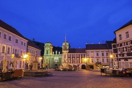 allegoric: Main Square with the fountain and Holy Trinity Statue in Mikulov in Czech Republic