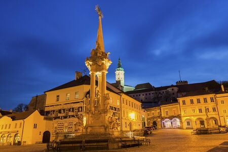 allegoric: Main Square with the castle in the background in Mikulov in Czech Republic