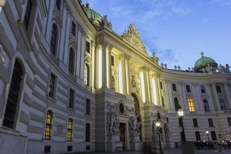 hofburg: St. Michaels Wing Of Hofburg Imperial Palace in Vienna in Austria during an evening