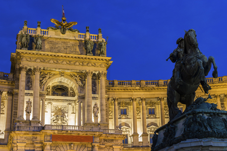 sumptuous: Neue Burg with Prince Eugene of Savoy statue in Vienna in Austria Editorial