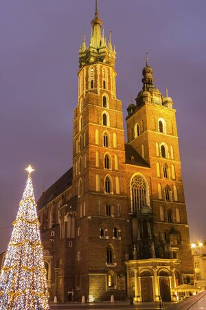 cracow: St. Marys Basilica in Cracow in Poland during Christmas