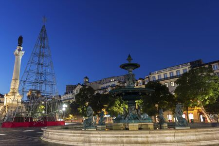 baixa: Rossio Square in Lisbon in Portugal during Christmas