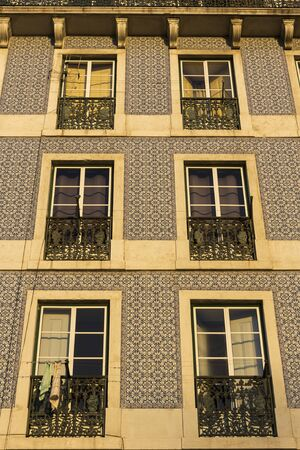 azulejo: Building decorated with traditional azulejo in Lisbon in Portugal