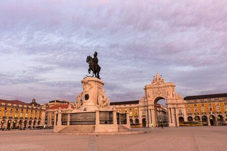 augusta: Rua Augusta Arch in Lisbon in Portugal Stock Photo