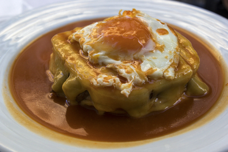 Francesinha on a plate in Porto in Portugal