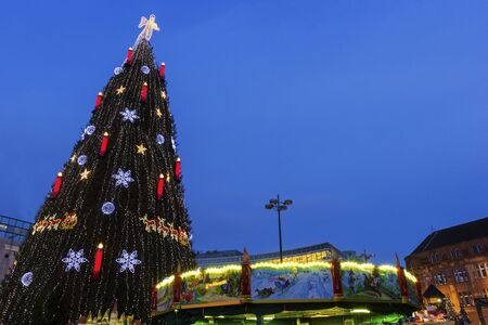 Christmas tree in Dortmund in Germany in the evening