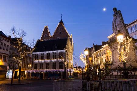 tenement buildings: Street in Mechelen in Belgium during Christmas