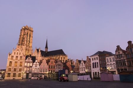 Old Town with Saint Rumbold's Cathedral in Mechelen in Belgium during Christmas