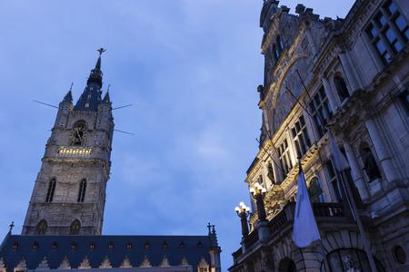Belfry of Ghent in Belgium in the evening Reklamní fotografie