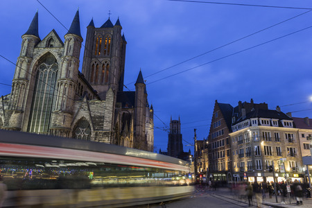 Historical centre of Ghent during Christmas