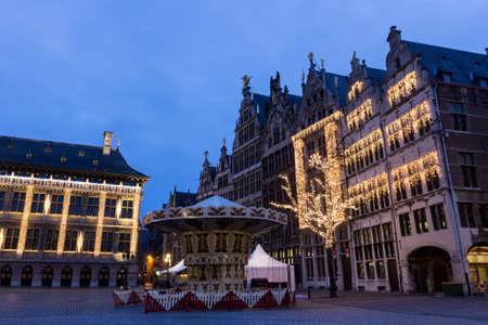 old town guildhall: Grote Markt in Antwerp in Belgium during Christmas