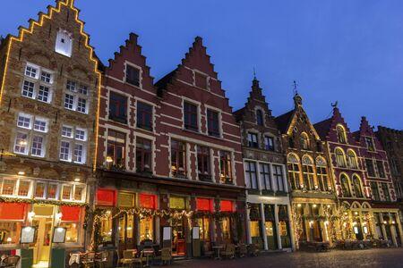 tenement buildings: Street in Bruges in Belgium during Christmas Stock Photo