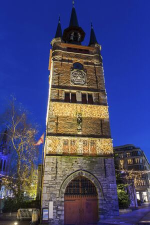 free standing: Belfry of Kortrijk in Belgium - medieval free standing bell tower in the middle of the Grote Mark