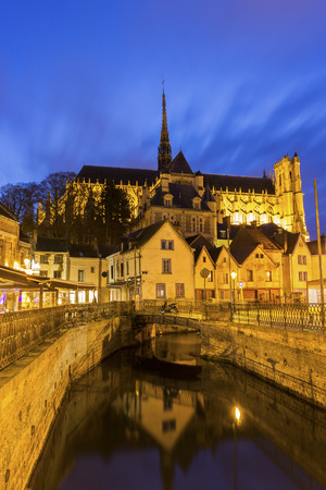 View on Amiens with the Cathedral Basilica of Our Lady in France Reklamní fotografie