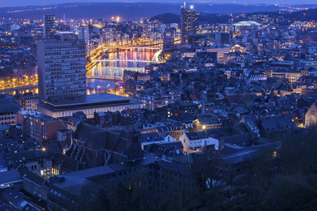 Panorama of the city of Liege in Belgium Stock Photo