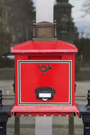 Red letterbox in Budapest, Hungary
