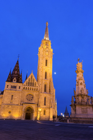 Matthias Church and Statue of the Holy Trinity in Budapest, Hungary