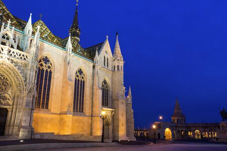 matthias church: View on Matthias Church at Fishermans Bastion in Budapest, Hungary