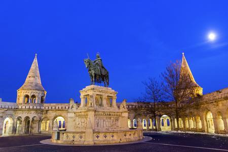 bastion: St. Stephens Statue, Fishermans Bastion, Budapest, Hungary Stock Photo