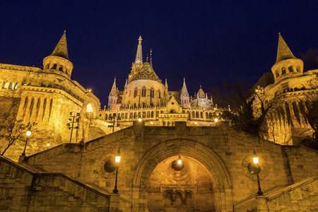 bastion: View on Fishermans Bastion in Budapest, Hungary Stock Photo