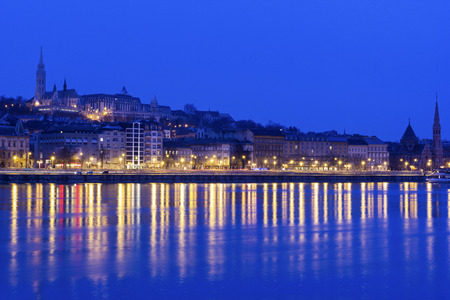 View on Fishermans Bastion in Budapest from the banks of Danube river, Hungary