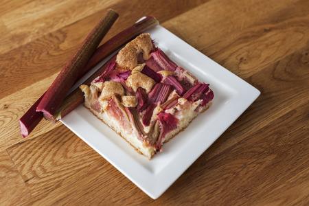 Cake with fresh rhubarb