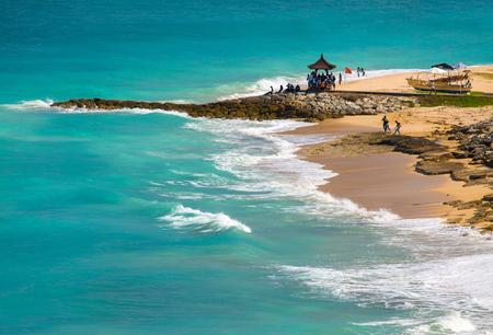 Dream beach at sunny day. Bali, Indonesia. Stock Photo