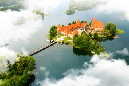 aerial view city: Aerial view of old castle. Trakai, Lithuania.