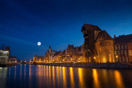 polska: Harbor at Motlawa river with old town of Gdansk in Poland.
