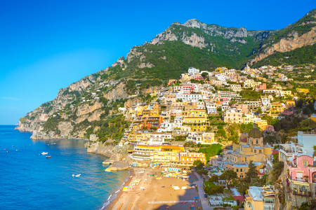 Morning view of Positano cityscape on coast line of mediterranean sea, Italy Stock fotó