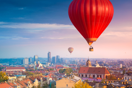 Hot air balloons flying over Vilnius, Lithuania