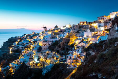 View of Oia the most beautiful village of Santorini island in Greece. Banque d'images - 135293566