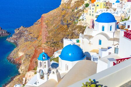 View of Oia the most beautiful village of Santorini island in Greece. Banque d'images - 135293567
