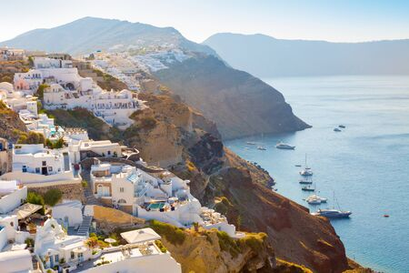 View of Oia the most beautiful village of Santorini island in Greece. Banque d'images - 135293574