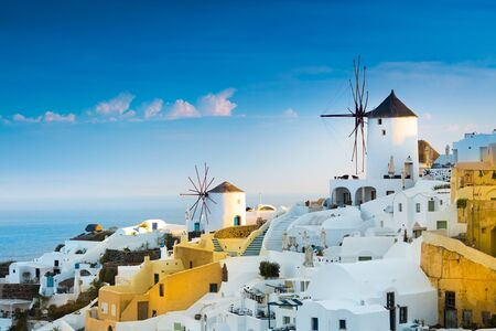 View of Oia the most beautiful village of Santorini island in Greece. Banque d'images - 135293580