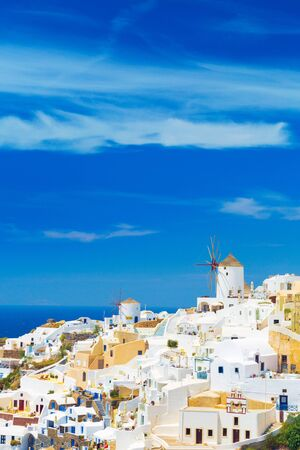 View of Oia the most beautiful village of Santorini island in Greece. Banque d'images - 135293582
