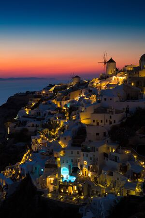 View of Oia the most beautiful village of Santorini island in Greece. Banque d'images - 135293584